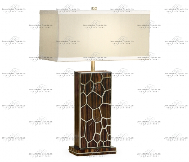small rushmore Macassar Ebony Table Lamp with White Brass Inlay