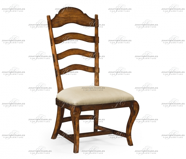 small rushmore Rustic Walnut Dining Side Chair, Upholstered in MAZO