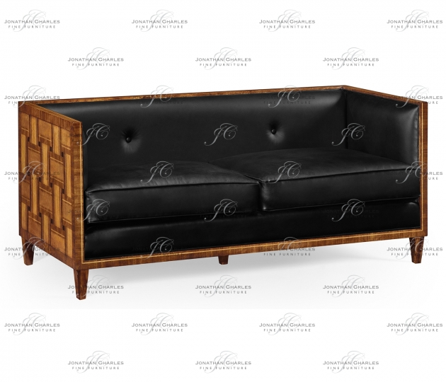 small rushmore 2.5 Seater Cosmo Sofa, Upholstered in Black Leather