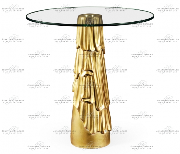 small rushmore Gilded antique gold leaf round drink table