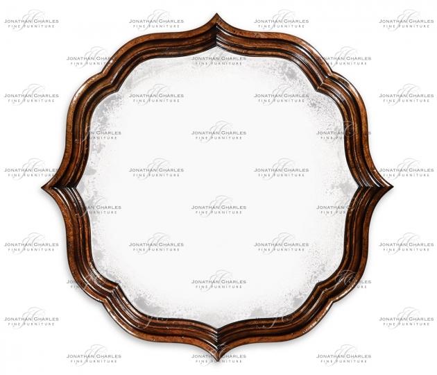 small rushmore Rustic walnut round antique mirror