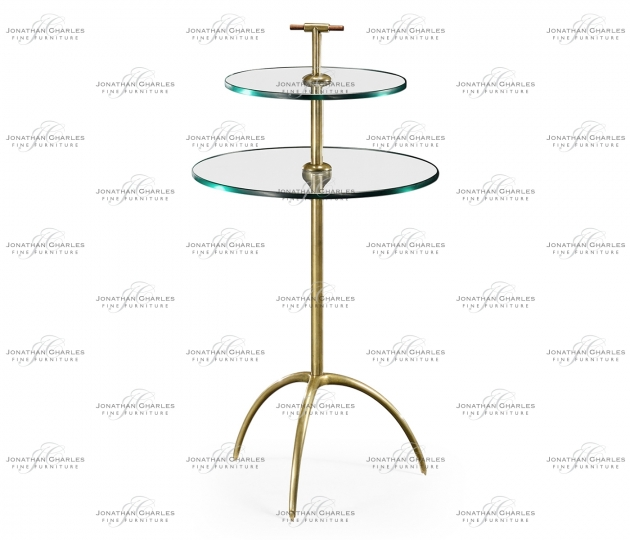 small rushmore Brass & Glass Round Drinks Table