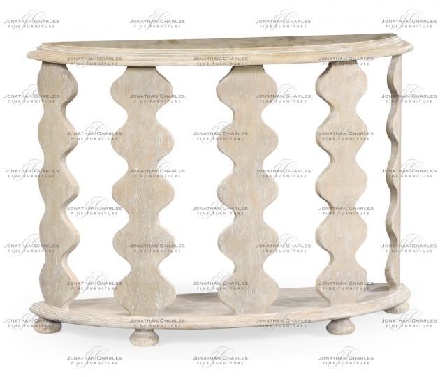 small rushmore Demilune Console Table in Limed Acacia