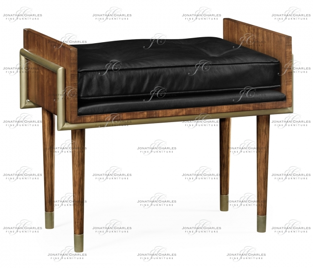 small rushmore Cosmo Hyedua Stool, Upholstered in Black Leather