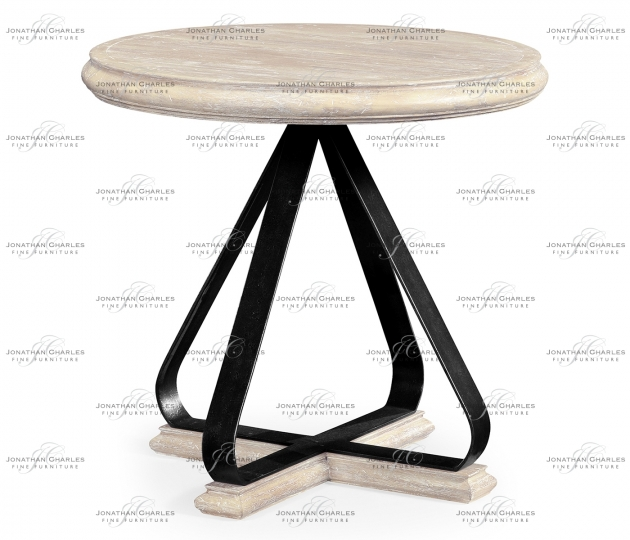 small rushmore Round Side Table with Iron Base in Limed Acacia