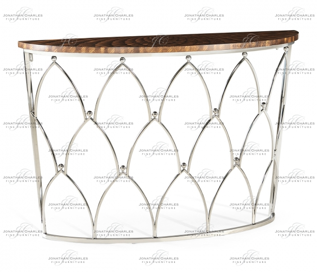 small rushmore Feather Inlay Demilune Console Table