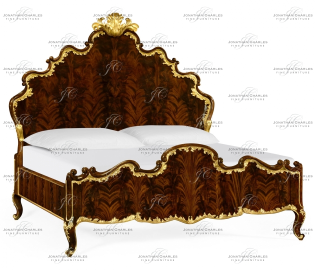 small rushmore US King High Lustre Mahogany & Gilded Bed