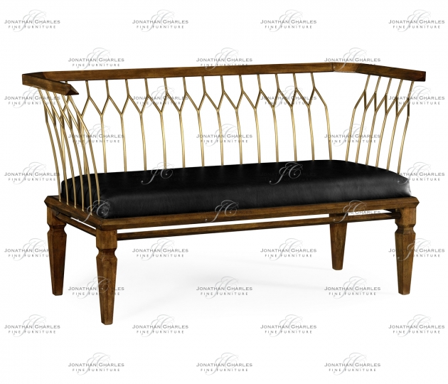 small rushmore Contemporary Walnut & Brass Bench, Upholstered in Black Leather