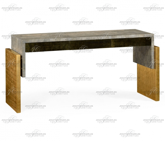 small rushmore Rectangular Eggshell & Gilded Console Table