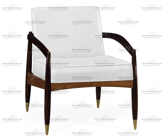 small rushmore Contemporary Hyedua & Ebonised Occasional Chair, Upholstered in COM