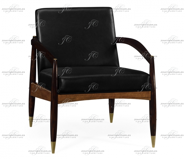 small rushmore Contemporary Hyedua & Ebonised Occasional Chair, Upholstered in Black Leather
