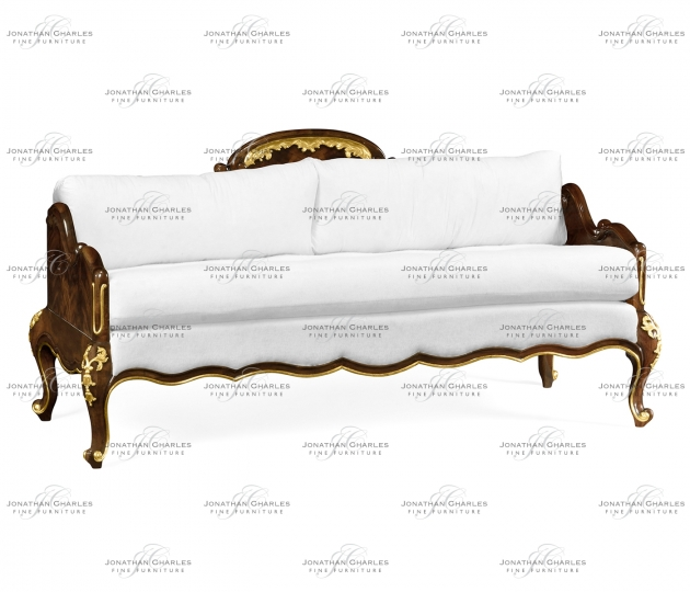 small rushmore Bedroom bench with gilded carving, upholstered in COM