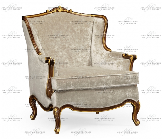 small rushmore Armchair with gilded carving, upholstered in Calico velvet