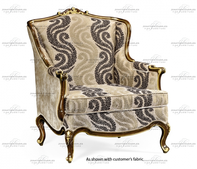 small rushmore Armchair with gilded carving, upholstered in COM