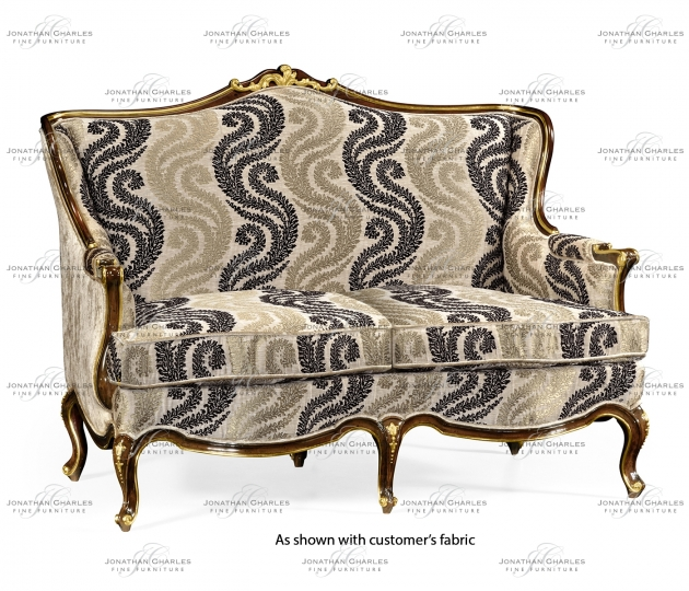 small rushmore Two seater sofa with gilded carving, upholstered in COM