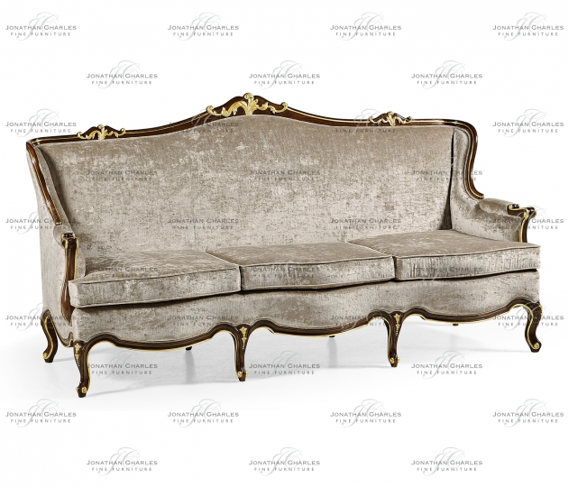 small rushmore Three seater sofa with gilded carving, upholstered in Calico velvet