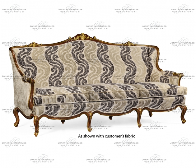 small rushmore Three seater sofa with gilded carving, upholstered in COM