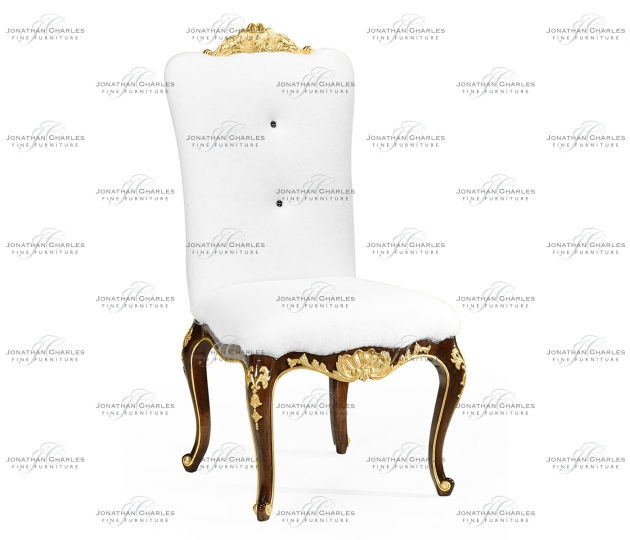 small rushmore Dining Side Chair with Gilt Carved Detailing, Upholstered in COM by Distributor
