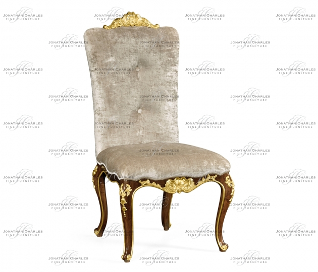 small rushmore Dining side chair with gilt carved detailing, upholstered in Calico velvet