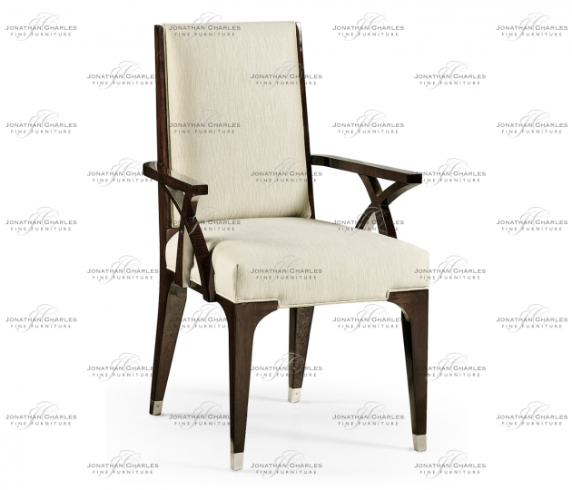 small rushmore Black Eucalyptus Dining Arm Chair, Upholstered in Castaway
