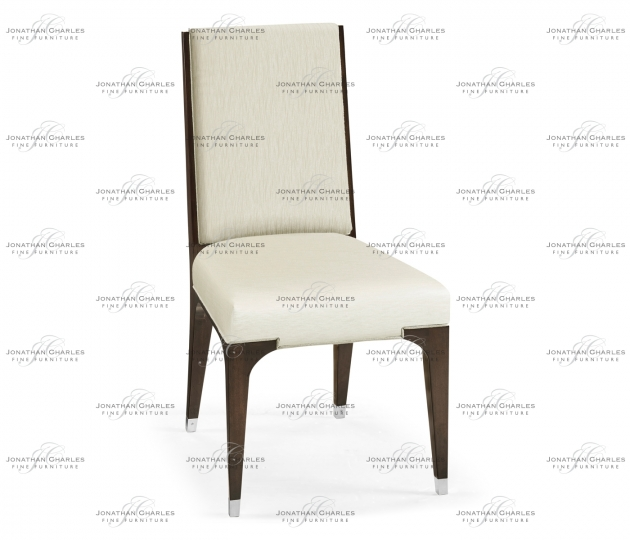 small rushmore Black Eucalyptus Dining Side Chair, Upholstered in Castaway
