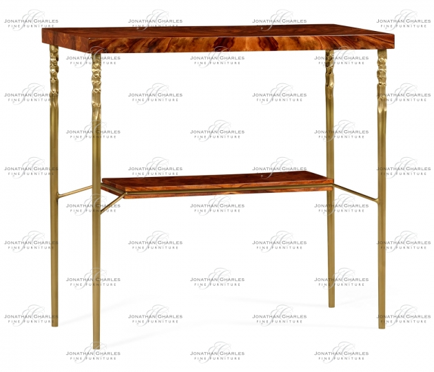 small rushmore Console table in Tropical walnut crotch with brass base