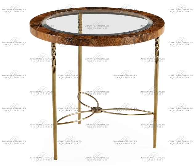 small rushmore Round side table in Tropical walnut crotch with brass base