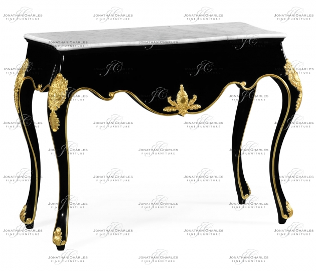small rushmore Black Laquered Console Table with White Marble Top