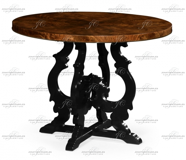 small rushmore Brown mahogany center table with black painted base