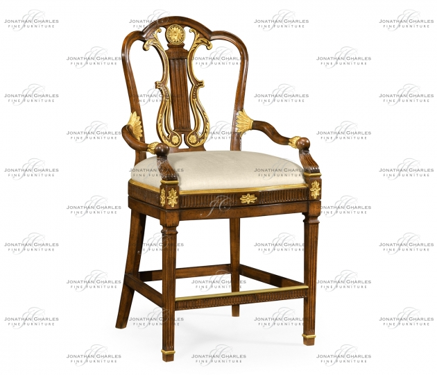 small rushmore Neo–Classical Gilded Lyre Back Bar Armchair, Upholstered in MAZO
