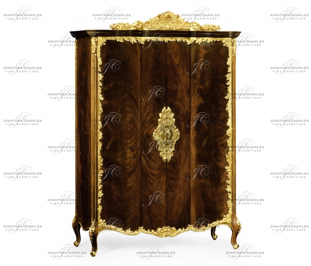 small rushmore Mahogany & Gilded Carved Armoire