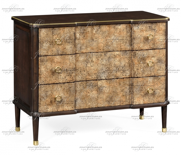 small rushmore Chest of Drawers with Eggshell Inlay & Brass Details