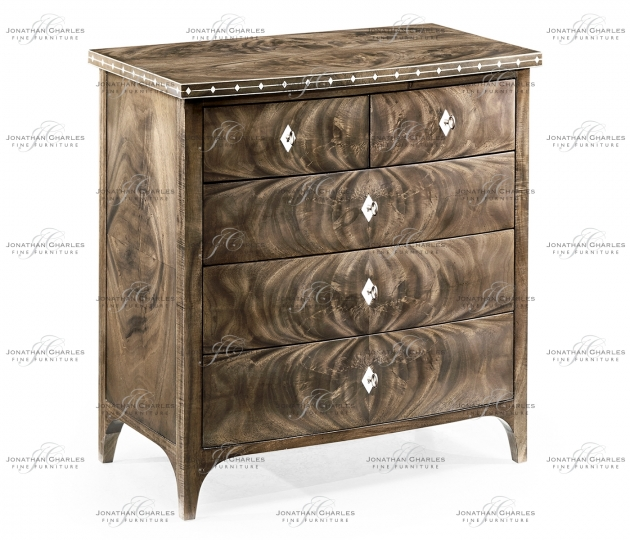 small rushmore Small Bleached Mahogany Chest of Drawers with Bone Inlay