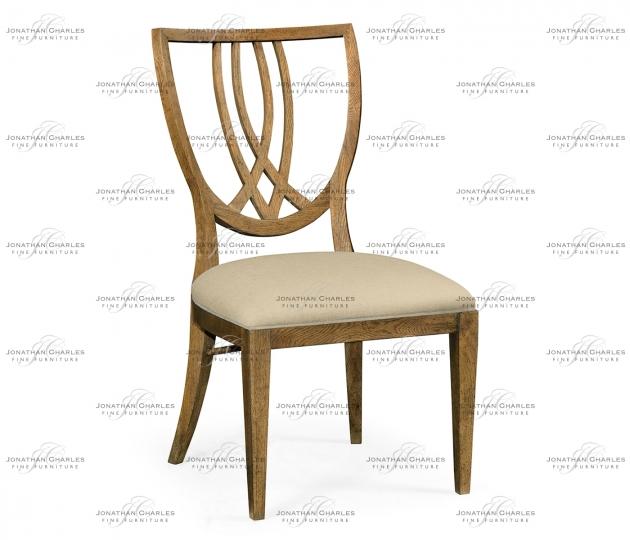 small rushmore Shield Back English Brown Oak Dining Side Chair, Upholstered in MAZO