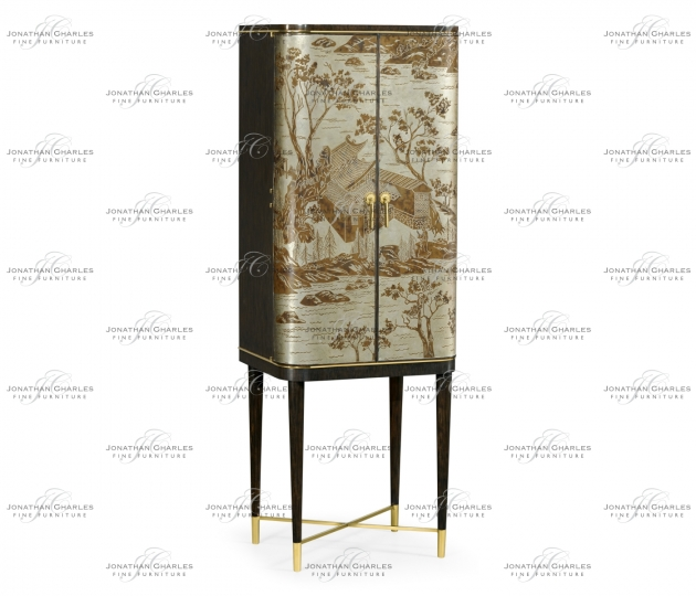 small rushmore Chinoiserie Style Charcoal & Antique Etched Brass Drinks Cabinet