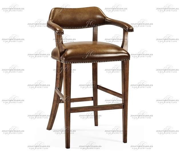 small rushmore Walnut Library Bar Stool, Upholstered in Antique Chestnut Leather