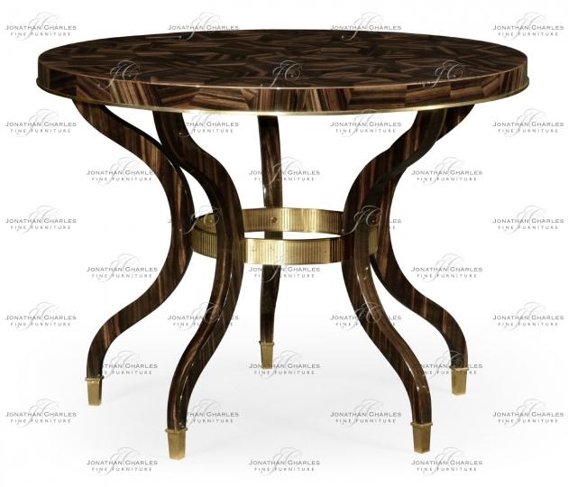 small rushmore Round Natural Macassar Ebony & Brass Centre Table