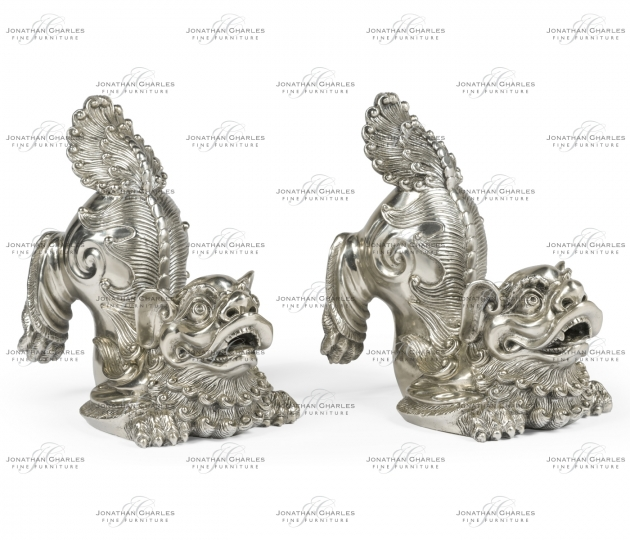 small rushmore White Stainless Steel Foo Dog Bookends