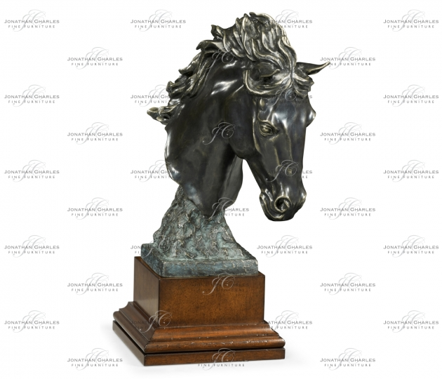small rushmore Antique Dark Bronze Stallion Horse Head