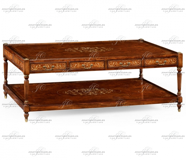 small rushmore Burl & mother of pearl inlaid rectangular coffee table