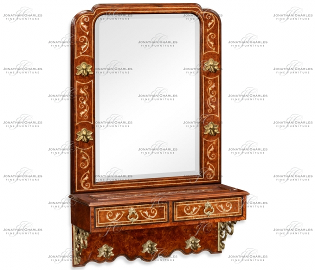 small rushmore Burl and mother of pearl inlaid hall mirror