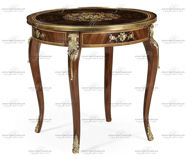 small rushmore Mahogany lamp table with mother of pearl & marquetry
