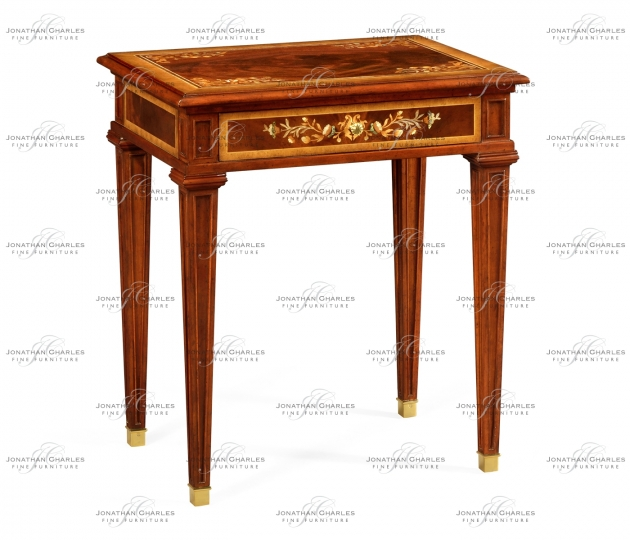 small rushmore Mahogany side table with mother of pearl & marquetry