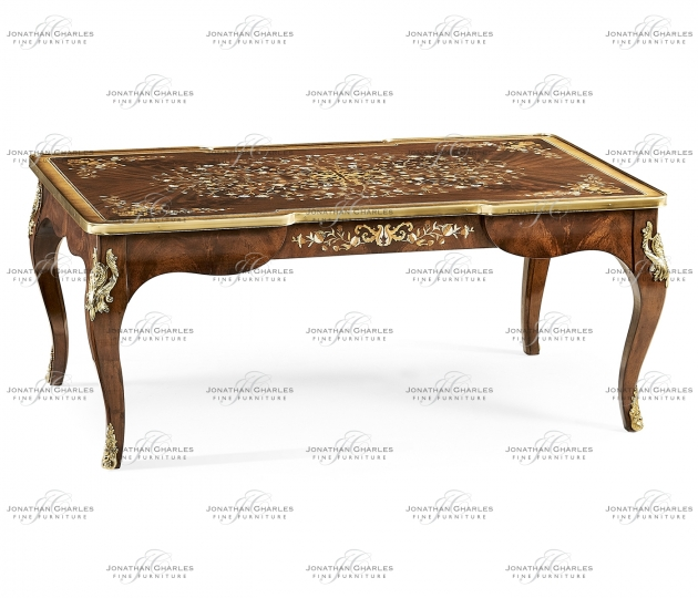 small rushmore Mahogany Rectangular Coffee Table with Brass Details