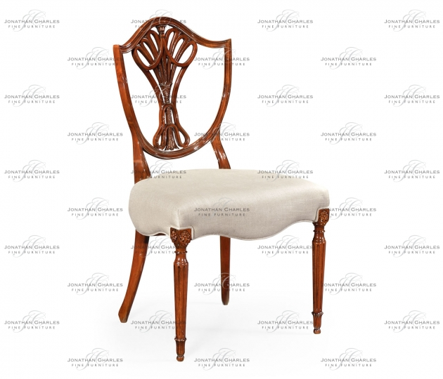 small rushmore Sheraton Dining Side Chair with Shield Back in Mahogany High Gloss, Upholstered in MAZO