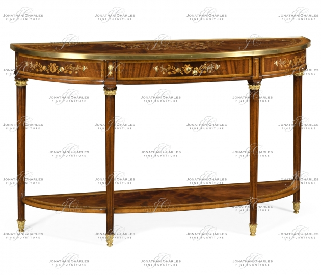small rushmore Large Demilune Console Table with Low Shelf