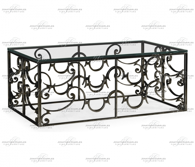 small rushmore Rectangular Arabesque Bronze Iron Coffee Table with 20mm Clear Glass Top