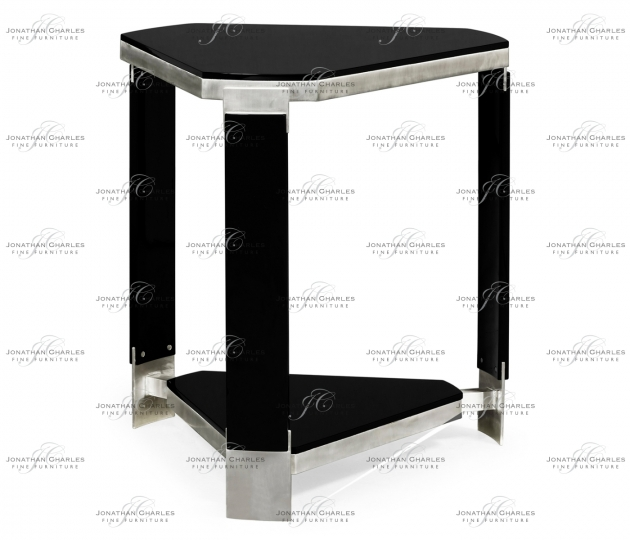 small rushmore Triangular Black Gloss Side Table