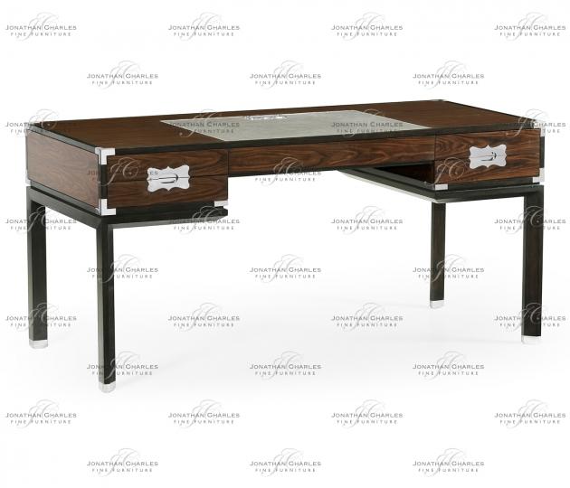small rushmore Campaign Style Dark Santos Rosewood Desk