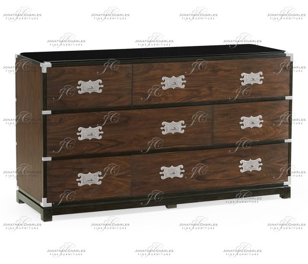 small rushmore Large Campaign Style Dark Santos Rosewood Chest of Six Drawers